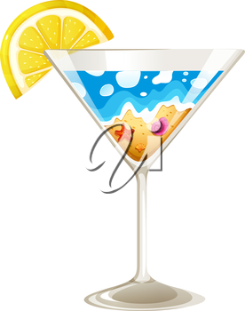 Illustration of a wineglass with a touch of summer on a white background