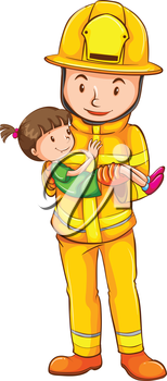 Illustration of a coloured sketch of a fireman saving a child on a white background