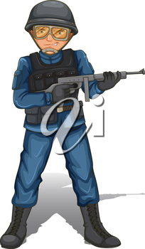 Illustration of a soldier with a gun on a white background