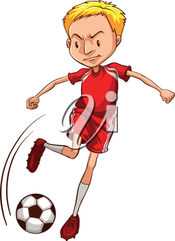 Illustration of a male soccer player on a white background