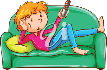 Illustration of a coloured sketch of a lazy boy on a white background