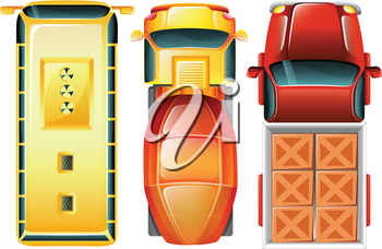 Illustration of a topview of the cars at the parking area on a white background