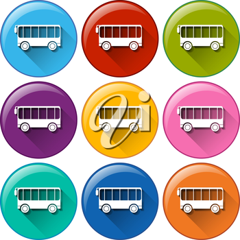 Illustration of many color bus icons
