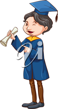 Illustration of a graduate on a white background