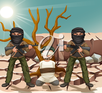 Two terrorists with gun and a victim illustration