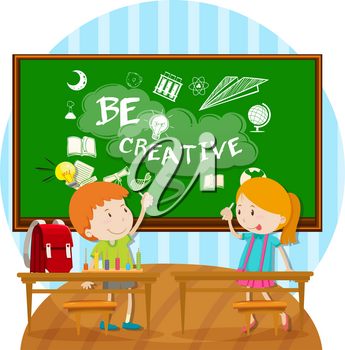 Two kids writing on board in classroom illustration