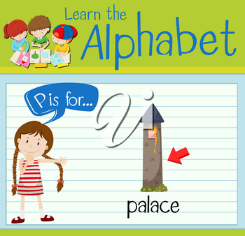 Flashcard letter P is for palace illustration