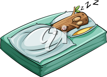 An idiom about a sleeping log on a white background