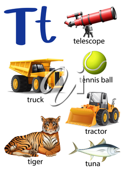 Letter T for telescope, truck, tennis ball, tractor, tiger and tune on a white background