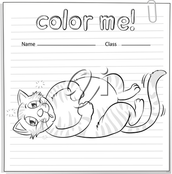 Coloring worksheet with a playful cat on a white background
