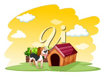 Puppy outside the wooden doghouse on a white background