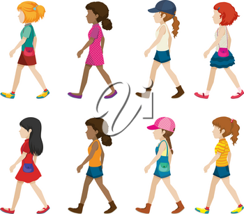Faceless young girls walking on a white background