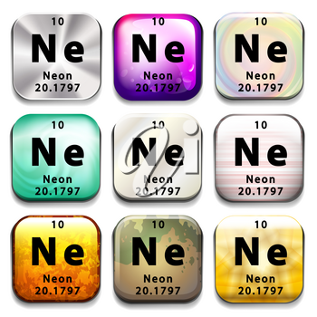 A periodic table button showing Neon on a white background