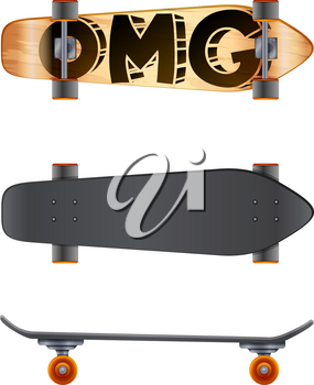 A skateboard with an OMG label on a white background