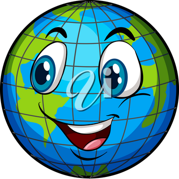 A comical image of Earth with a face on a white background