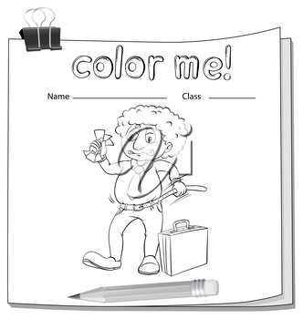A color me worksheet with a man on a white background