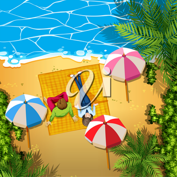 Man and woman relaxing on the beach illustration