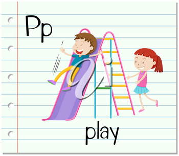 Flashcard letter P is for play illustration