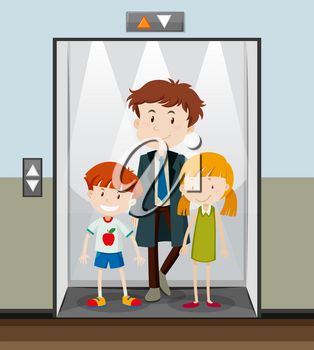 People using elevator going up illustration