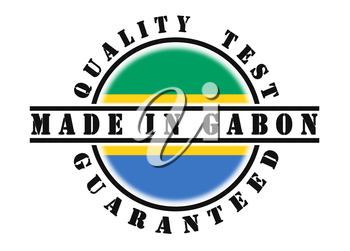 Quality test guaranteed stamp with a national flag inside, Gabon