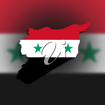 Syria map with the flag inside, isolated