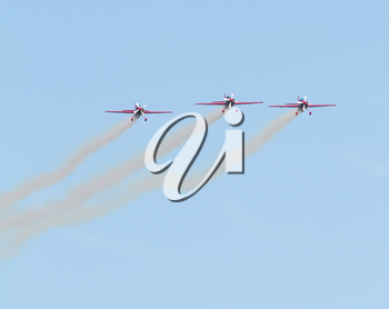 LEEUWARDEN,FRIESLAND,HOLLAND-SEPTEMBER 17: Royal Jordanian Falcons Display Team in their Extra 300L aircraft at the Airshow on September 17, 2011 at Leeuwarden Airfield