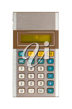 Old calculator, isolated on white with clipping path
