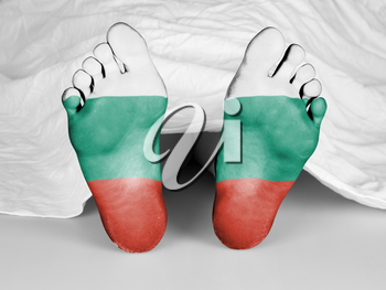 Dead body under a white sheet, flag of Bulgaria