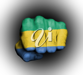 Fist of a man punching, flag of Gabon