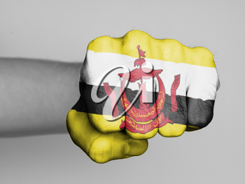 Fist of a man punching, flag of Brunei