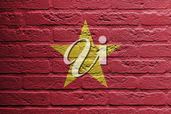 Brick wall with a painting of a flag isolated, Vietnam