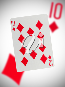 Playing card with a blurry background, ten