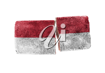 Rough broken brick, isolated on white background, flag of Indonesia