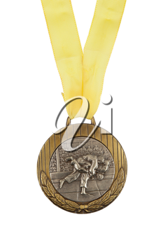 Old medal isolated on a white background, judo