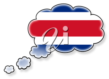 Flag in the cloud, isolated on white background, flag of Costa Rica