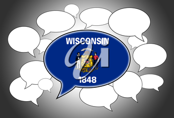Communication concept - Speech cloud, the voice of Wisconsin