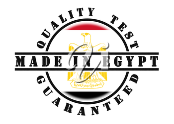 Quality test guaranteed stamp with a national flag inside, Egypt
