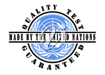 Quality test guaranteed stamp with a national flag inside, United Nations