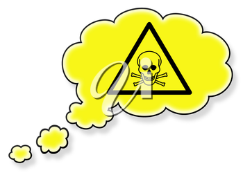 Flag in the cloud, isolated on white background, danger - poison