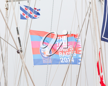 HARLINGEN, HOLLAND - MAY 7th: The flag of the Tall Ships Races 2014 in Harlingen, May 5, 2014 in Harlingen, Holland.