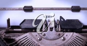 Vintage inscription made by old typewriter, news