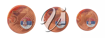European union concept - 1, 2 and 5 eurocent, flag of Serbia