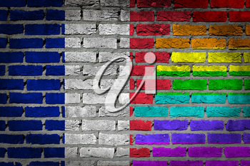 Dark brick wall texture - coutry flag and rainbow flag painted on wall - France