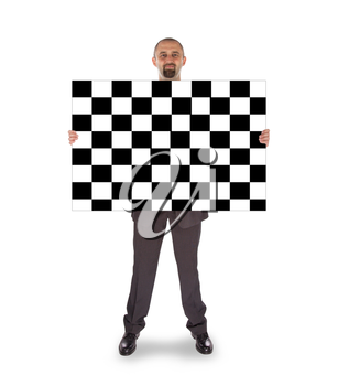 Businessman holding a big card, finish flag, isolated on white