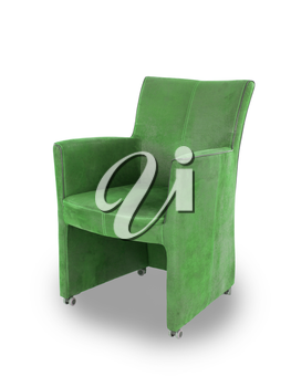 Green leather dining room chair isolated on white