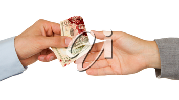 Transfer of money between man and woman, isolated on white, blood