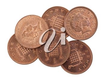 Penny coins isolated on a white background, selective focus