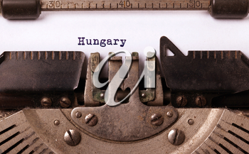 Inscription made by vinrage typewriter, country, Hungary
