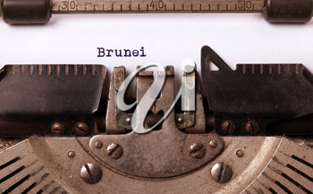 Inscription made by vinrage typewriter, country, Brunei