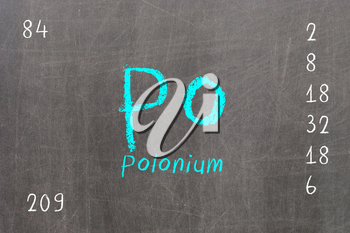 Isolated blackboard with periodic table, Polonium, Chemistry